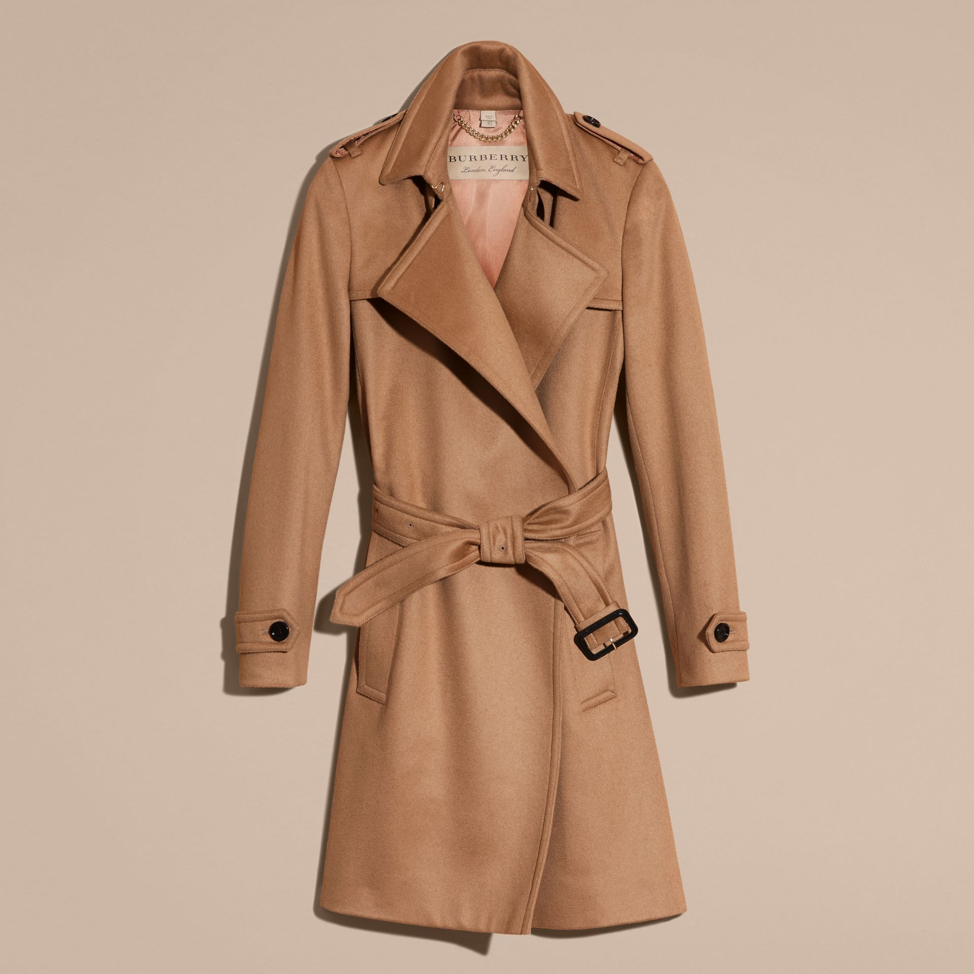 Camel Cashmere Wrap Trench Coat Camel - gallery image 4