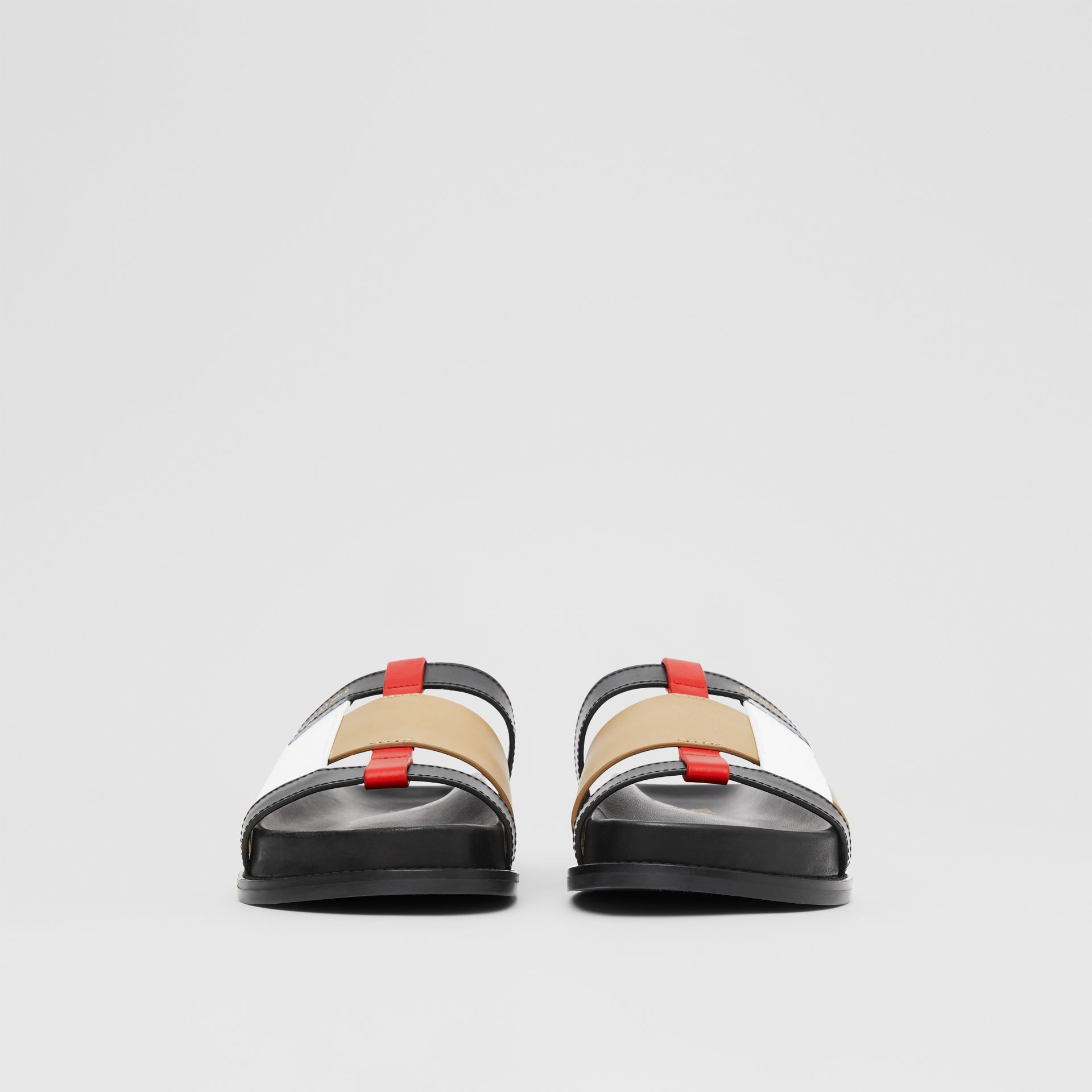 Colour Block Leather Slides in Black/archive Beige - Women | Burberry Hong Kong S.A.R - gallery image 3