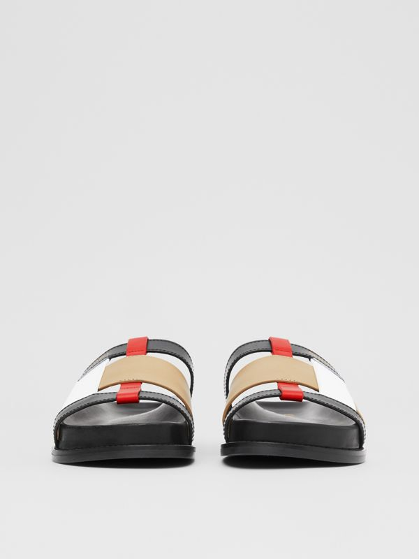 Colour Block Leather Slides in Black/archive Beige - Women | Burberry Hong Kong S.A.R - cell image 3