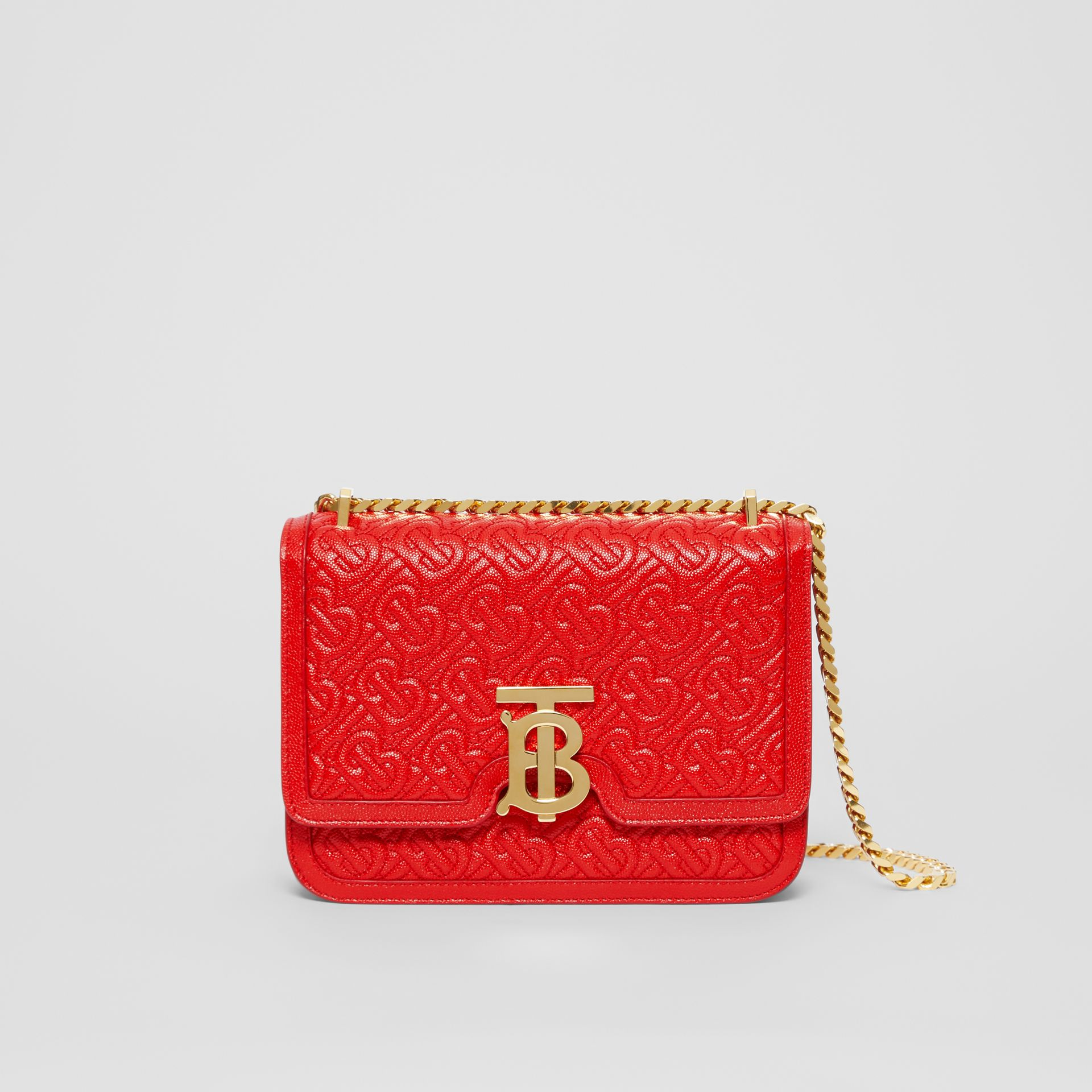 Small Quilted Monogram Leather TB Bag in Bright Red - Women | Burberry United States - gallery image 0