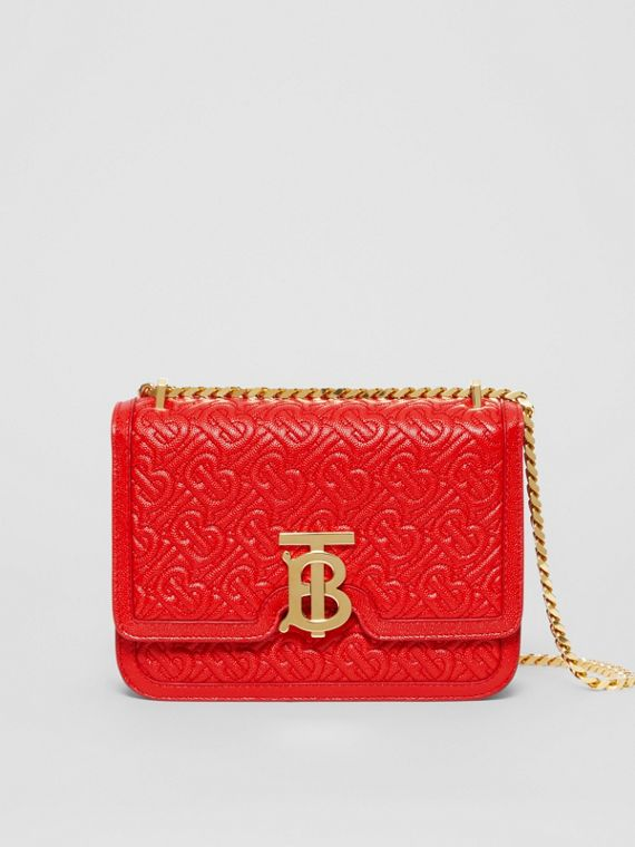 Small Quilted Monogram Leather TB Bag in Bright Red