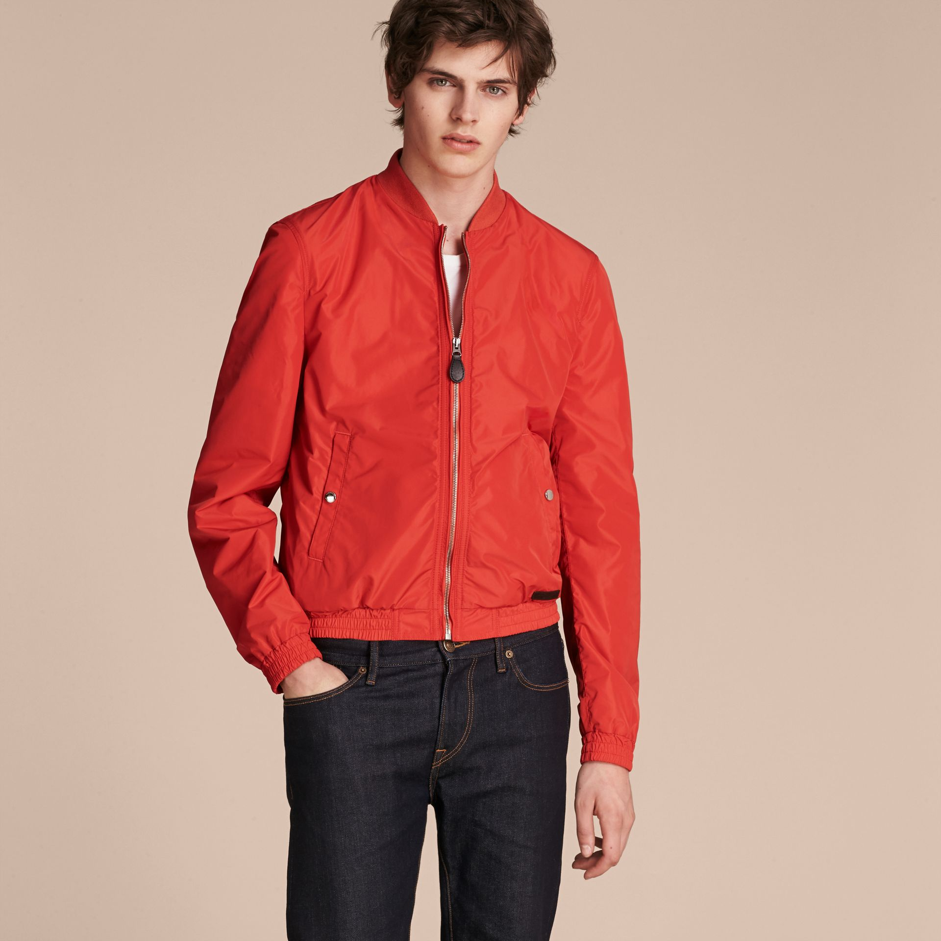 Orange red Showerproof Bomber Jacket - gallery image 6