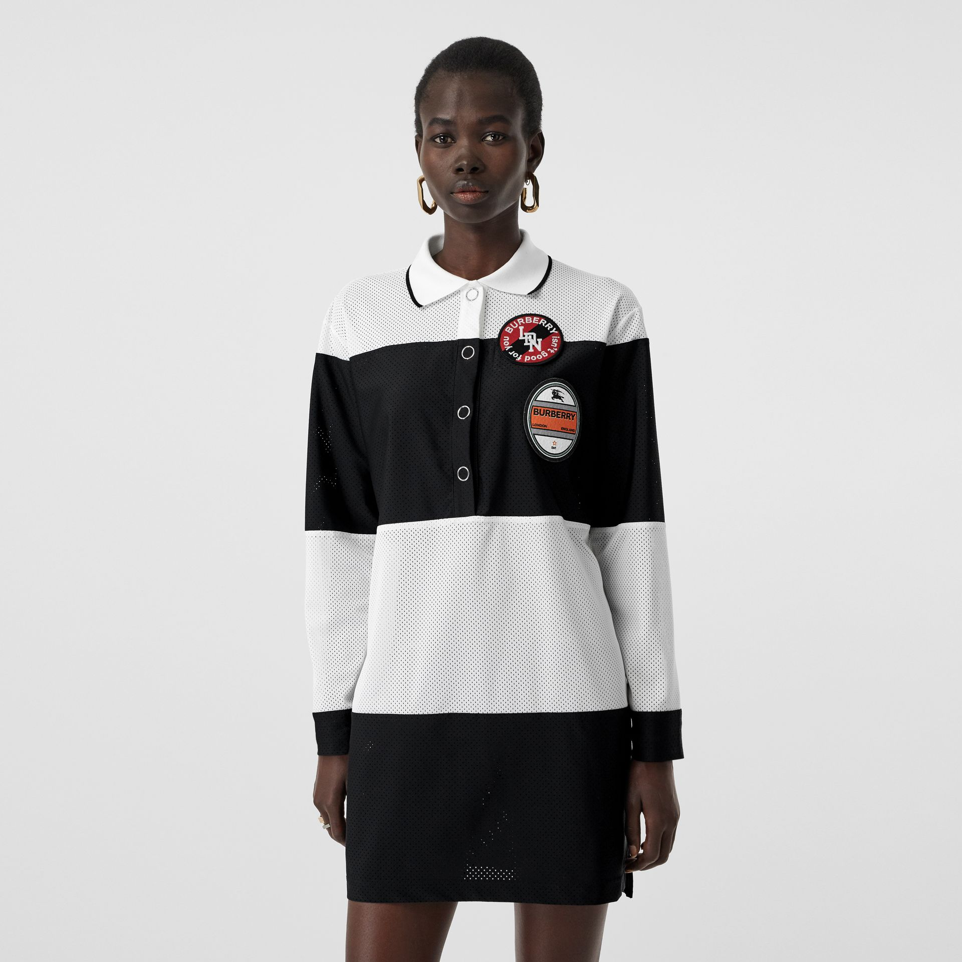 Logo Graphic Striped Mesh Polo Shirt Dress in Black - Women | Burberry - gallery image 0