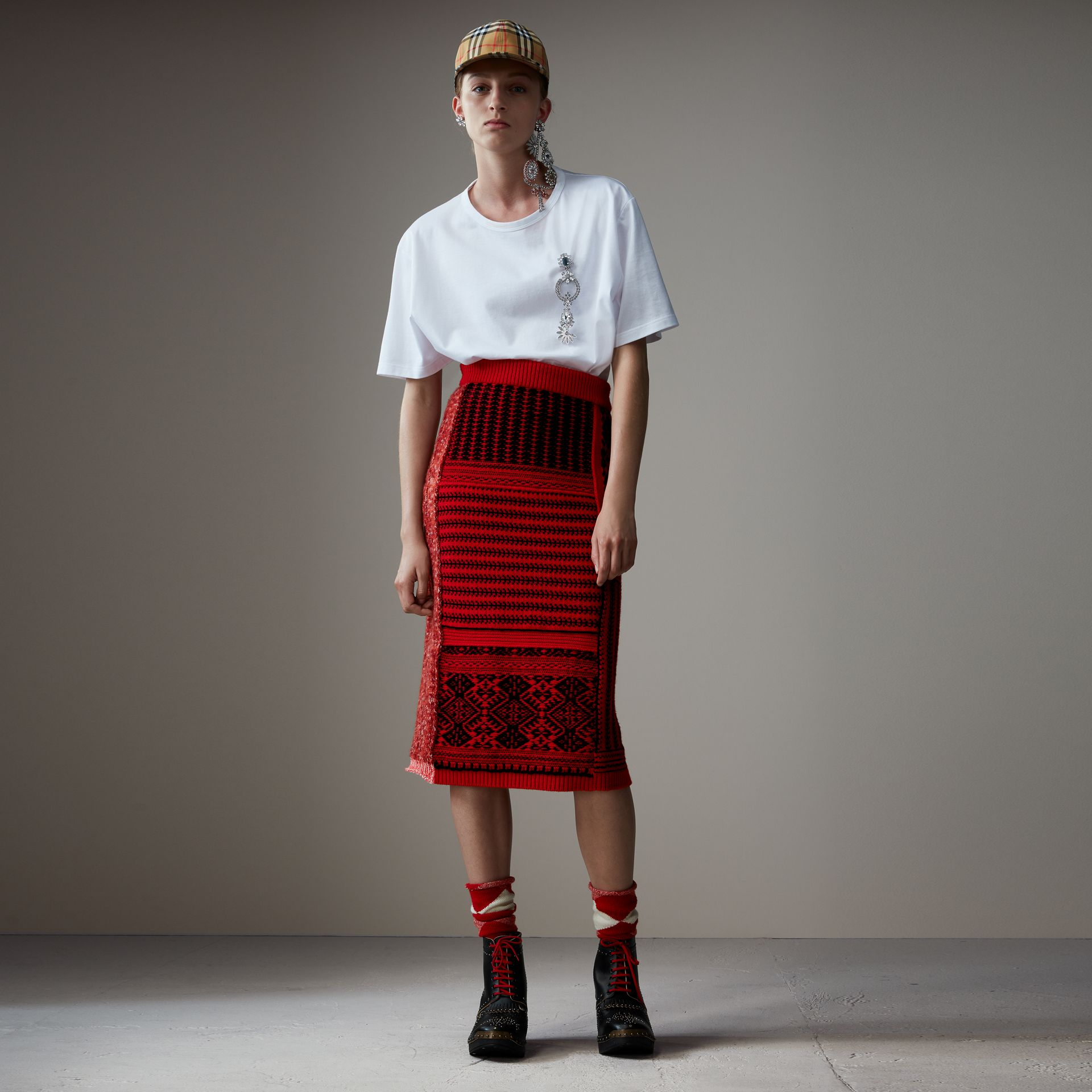 Geometric and Cable Knit Wool Cashmere Skirt in Red/black - Women | Burberry Australia - gallery image 0