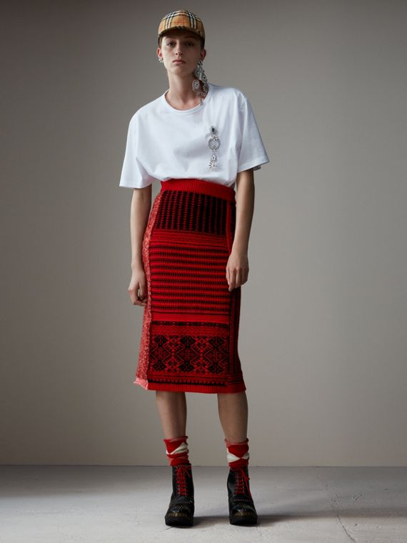 Geometric and Cable Knit Wool Cashmere Skirt in Red/black