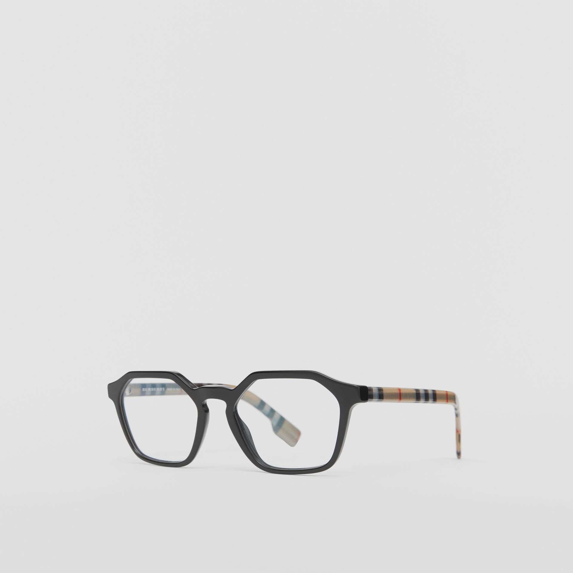 Vintage Check Detail Geometric Optical Frames in Black - Women | Burberry - gallery image 4
