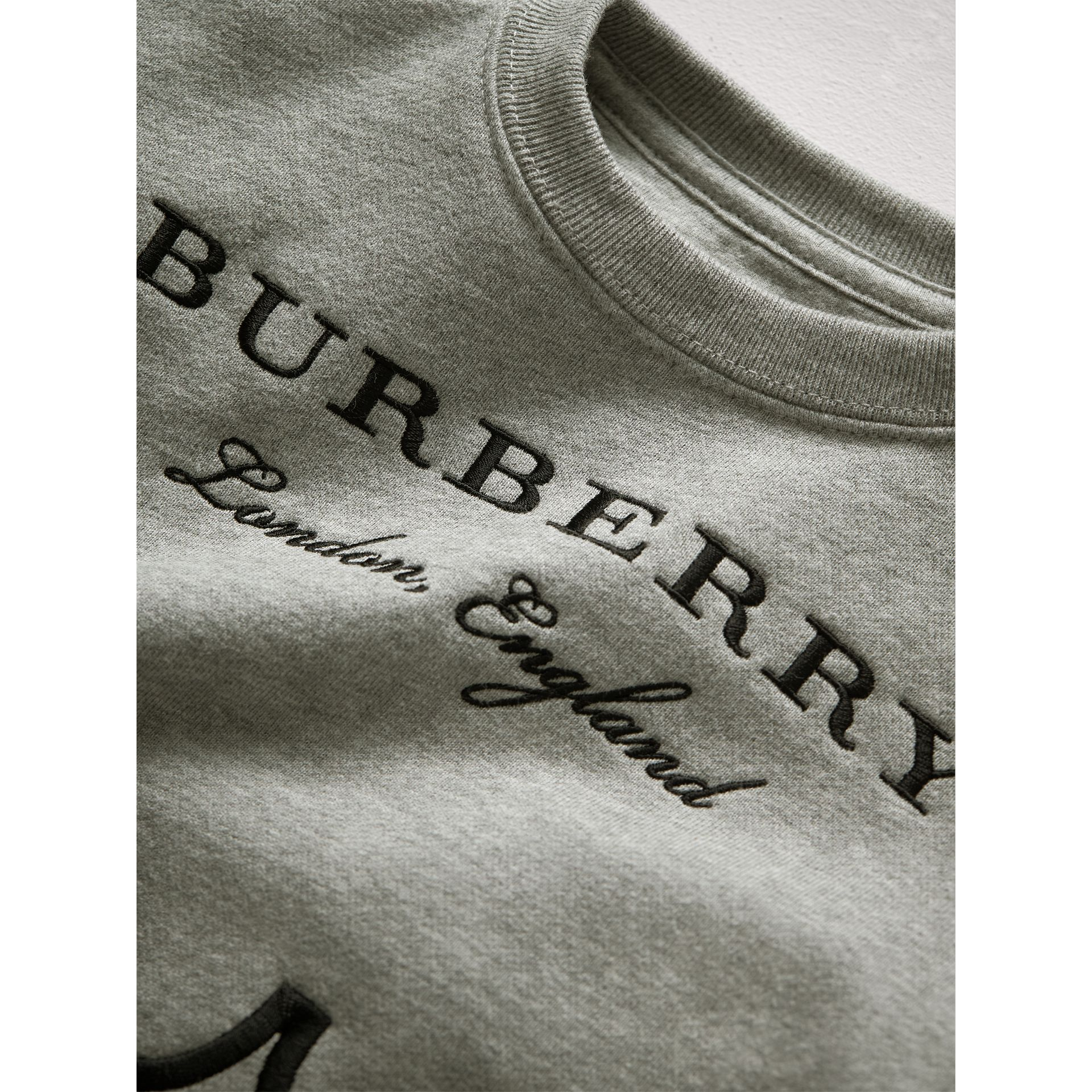 Scallop Detail Cotton Jersey Sweatshirt in Grey Melange | Burberry - gallery image 2