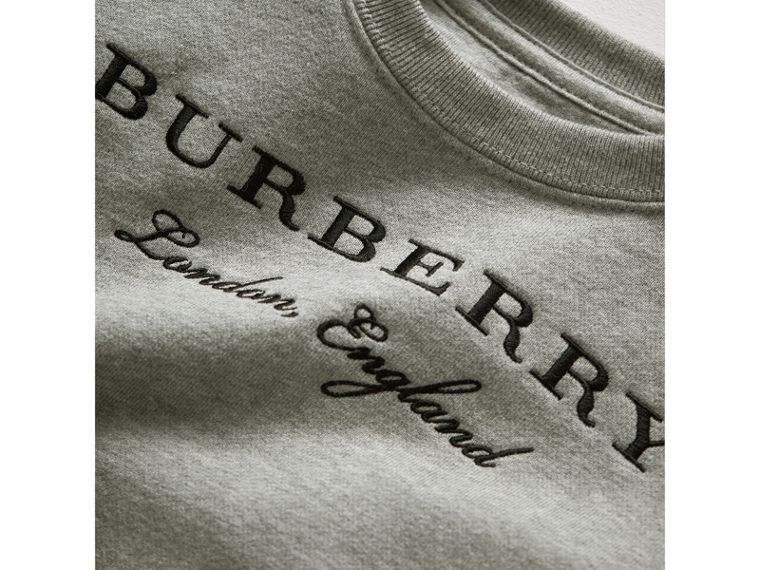 Scallop Detail Cotton Jersey Sweatshirt in Grey Melange | Burberry - cell image 1