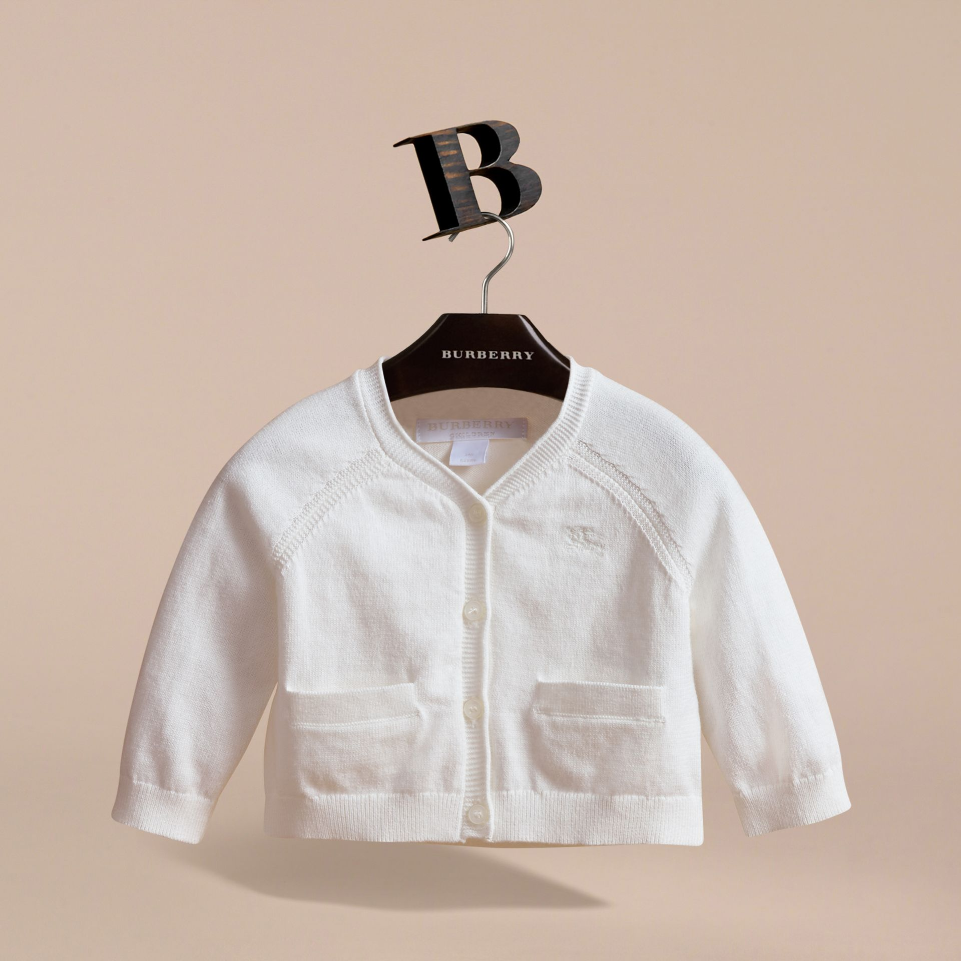 Knitted Cotton Cardigan in White | Burberry - gallery image 3
