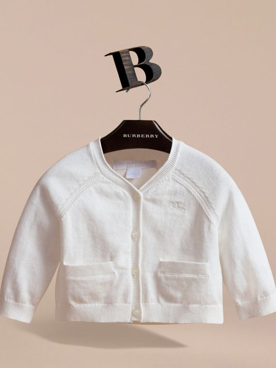 Knitted Cotton Cardigan in White | Burberry - cell image 2