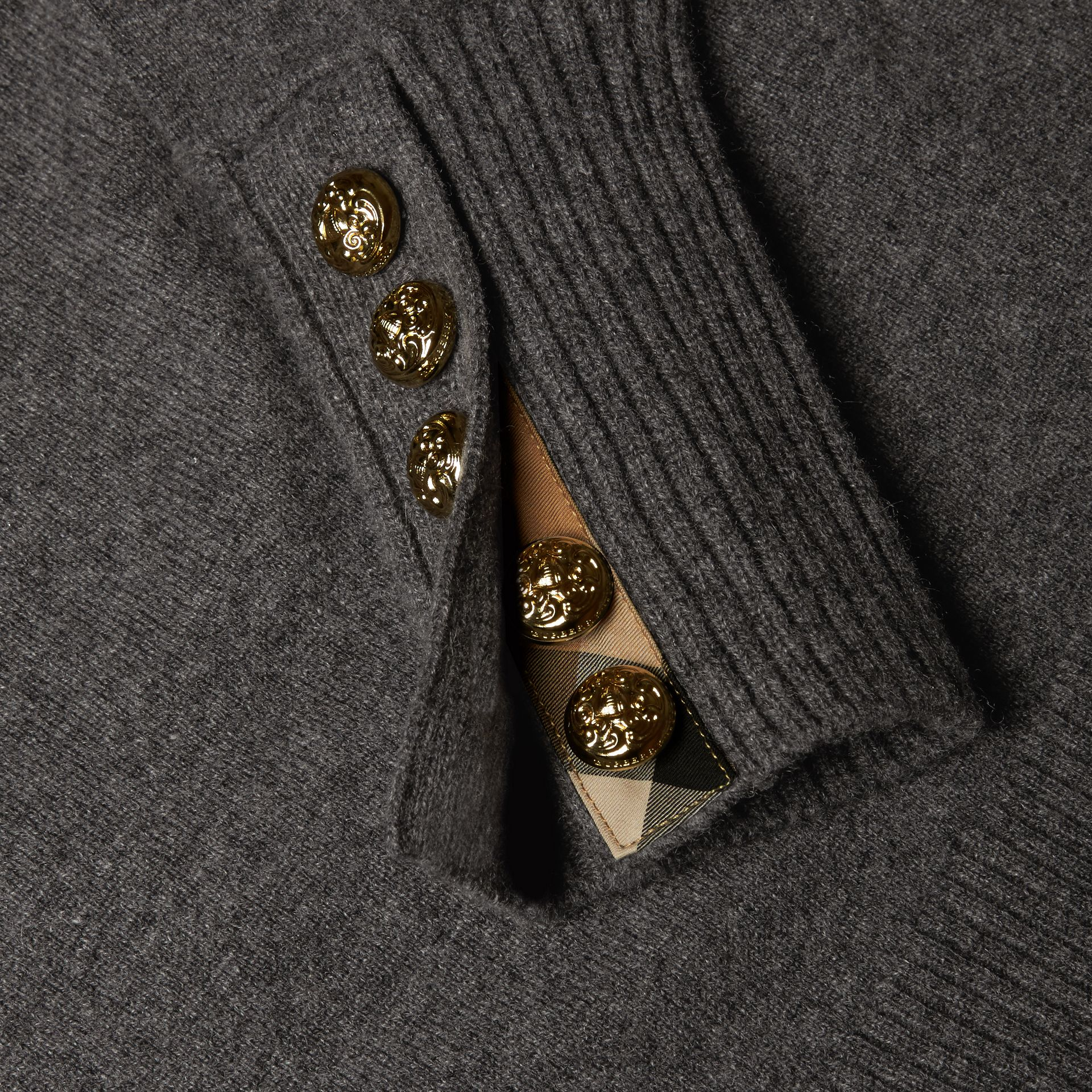 Dark grey melange Cashmere Sweater with Crested Buttons Dark Grey Melange - gallery image 2