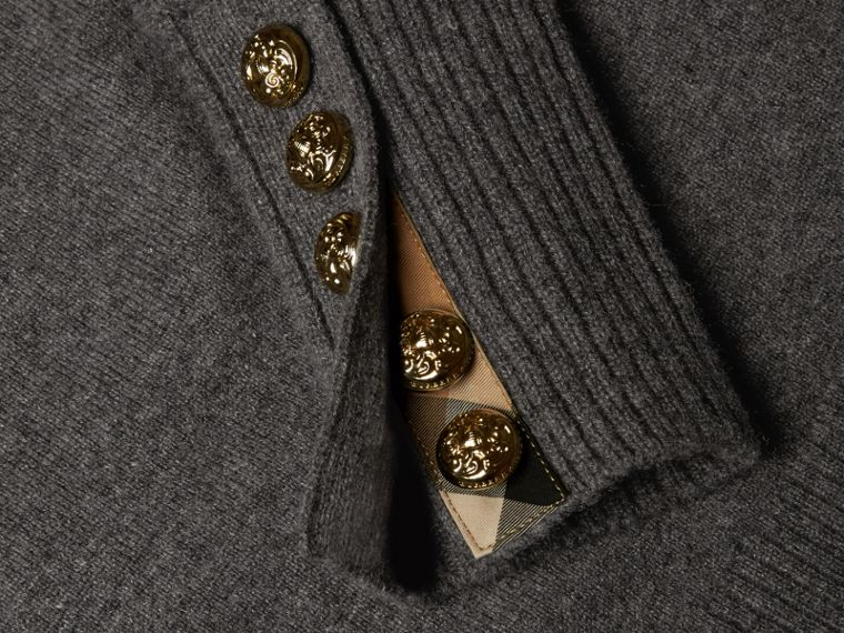 Cashmere Sweater with Crested Buttons Dark Grey Melange - cell image 1