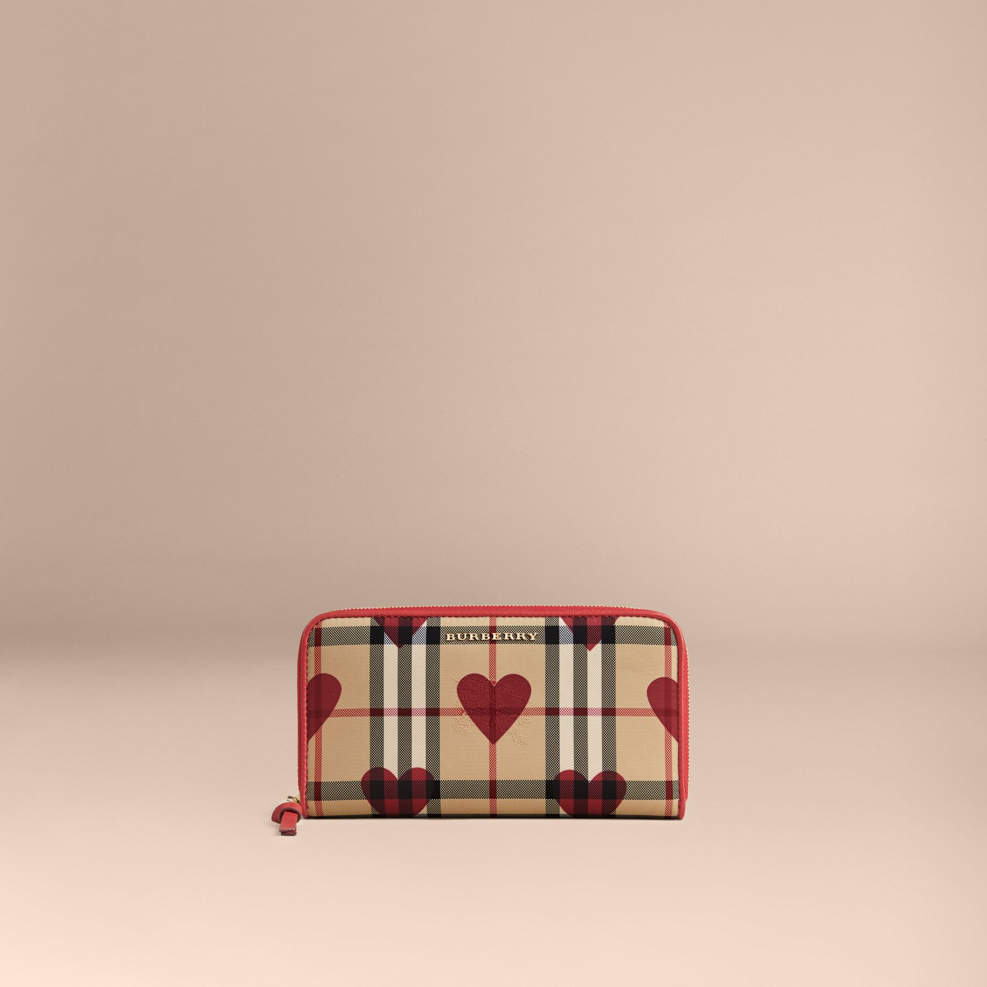 Horseferry Check and Hearts Ziparound Wallet in Parade Red - gallery image 2