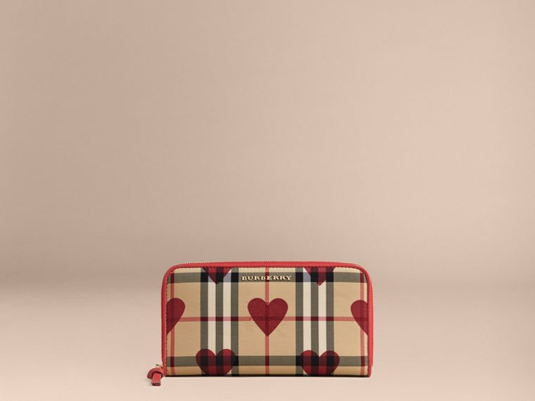 Horseferry Check and Hearts Ziparound Wallet in Parade Red - cell image 1