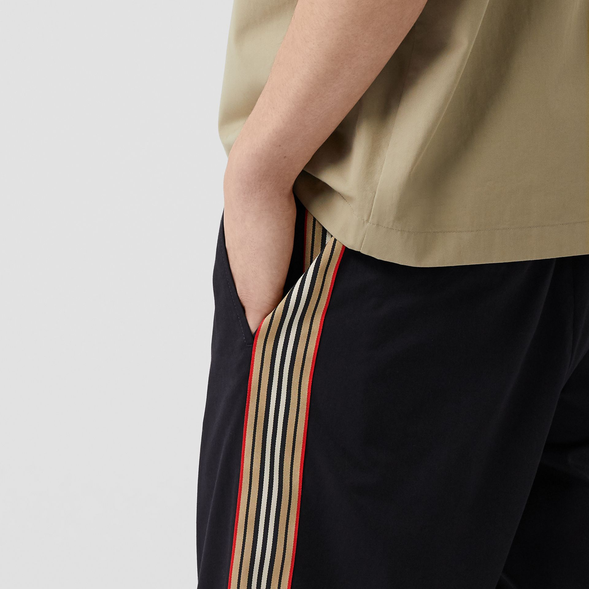 Icon Stripe Detail Cotton Twill Chino Shorts in Navy - Men | Burberry United Kingdom - gallery image 1
