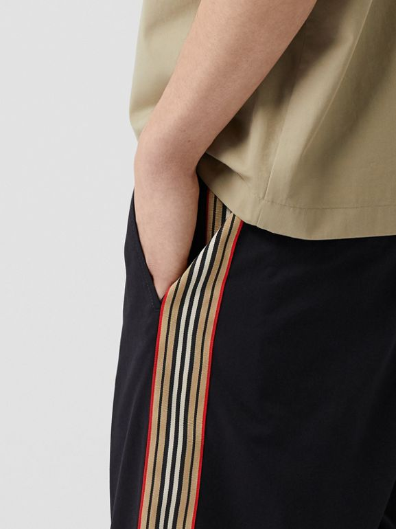 Icon Stripe Detail Cotton Twill Chino Shorts in Navy - Men | Burberry - cell image 1