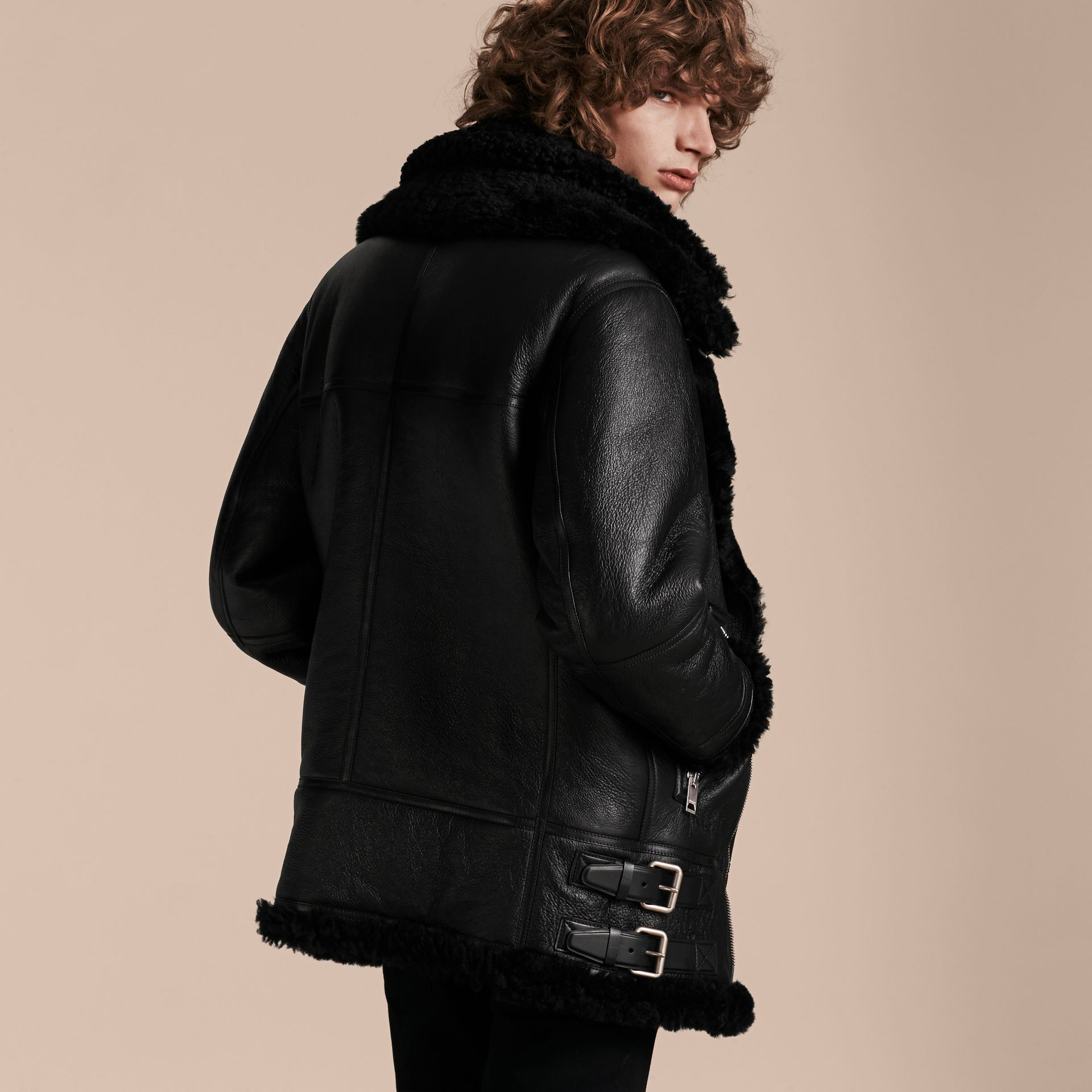 Black Long-line Shearling Aviator Jacket with Zip-out Bib - gallery image 3
