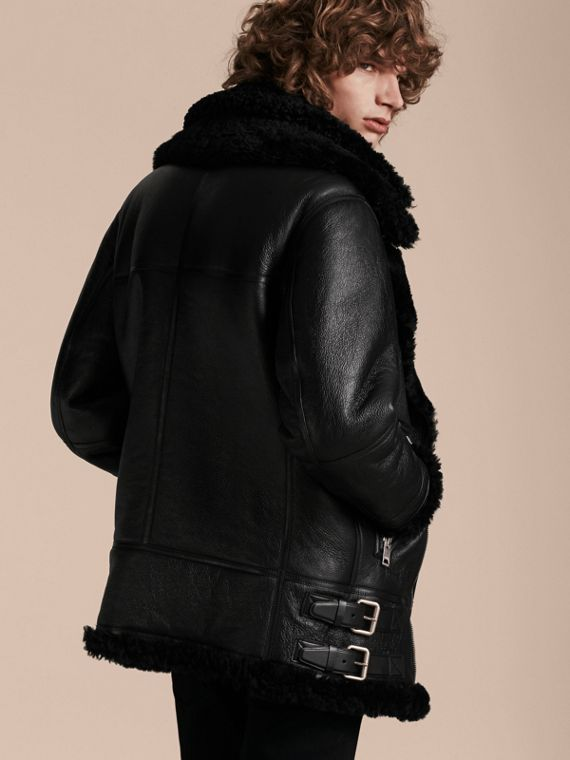 Black Long-line Shearling Aviator Jacket with Zip-out Bib - cell image 2
