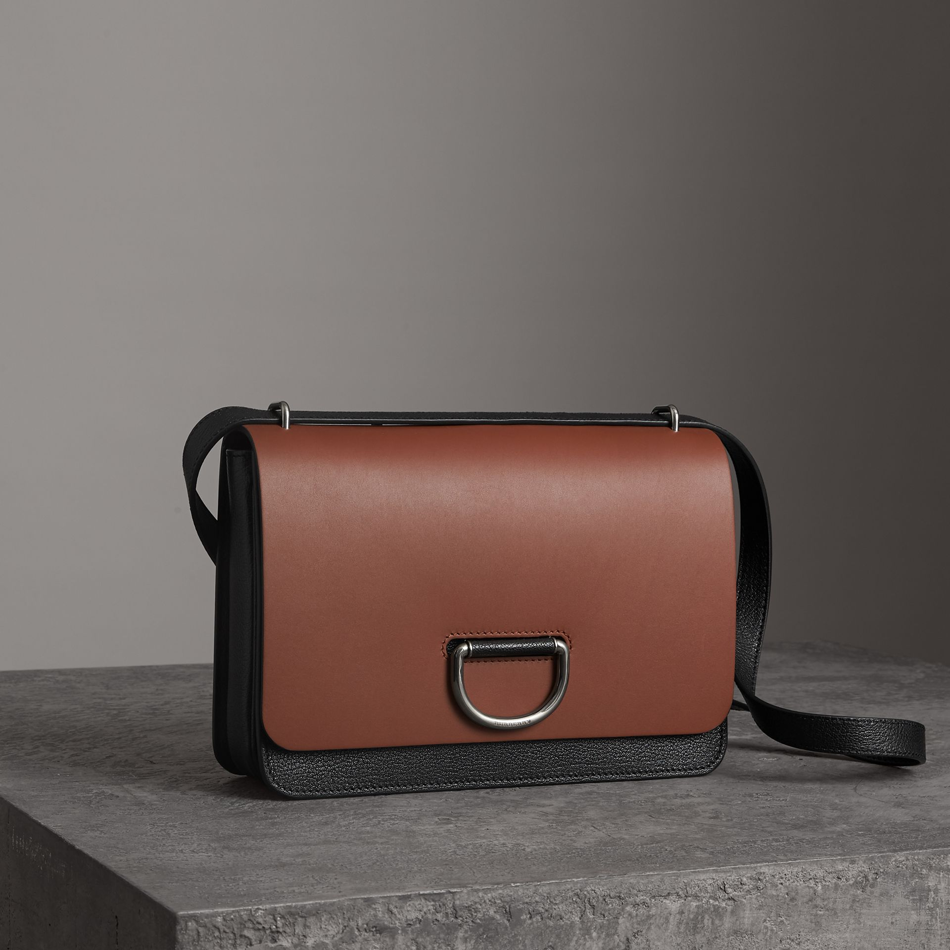 The Medium Leather D-ring Bag in Tan/black - Women | Burberry Australia - gallery image 6