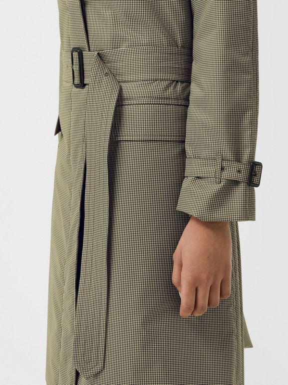 Puppytooth Check Belted Car Coat in Chalk Yellow - Women | Burberry - cell image 1