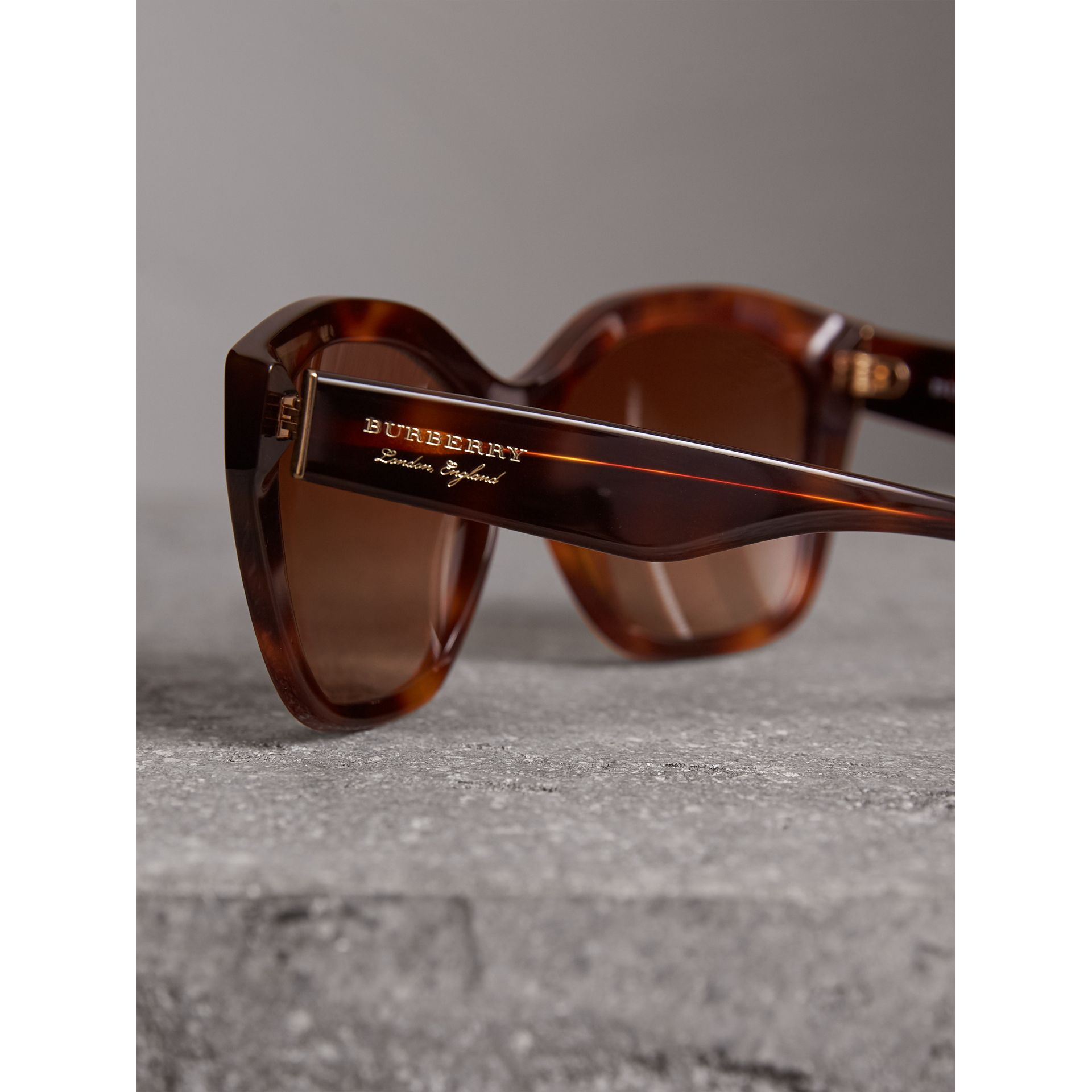 Square Frame Sunglasses in Light Brown - Women | Burberry Singapore - gallery image 1