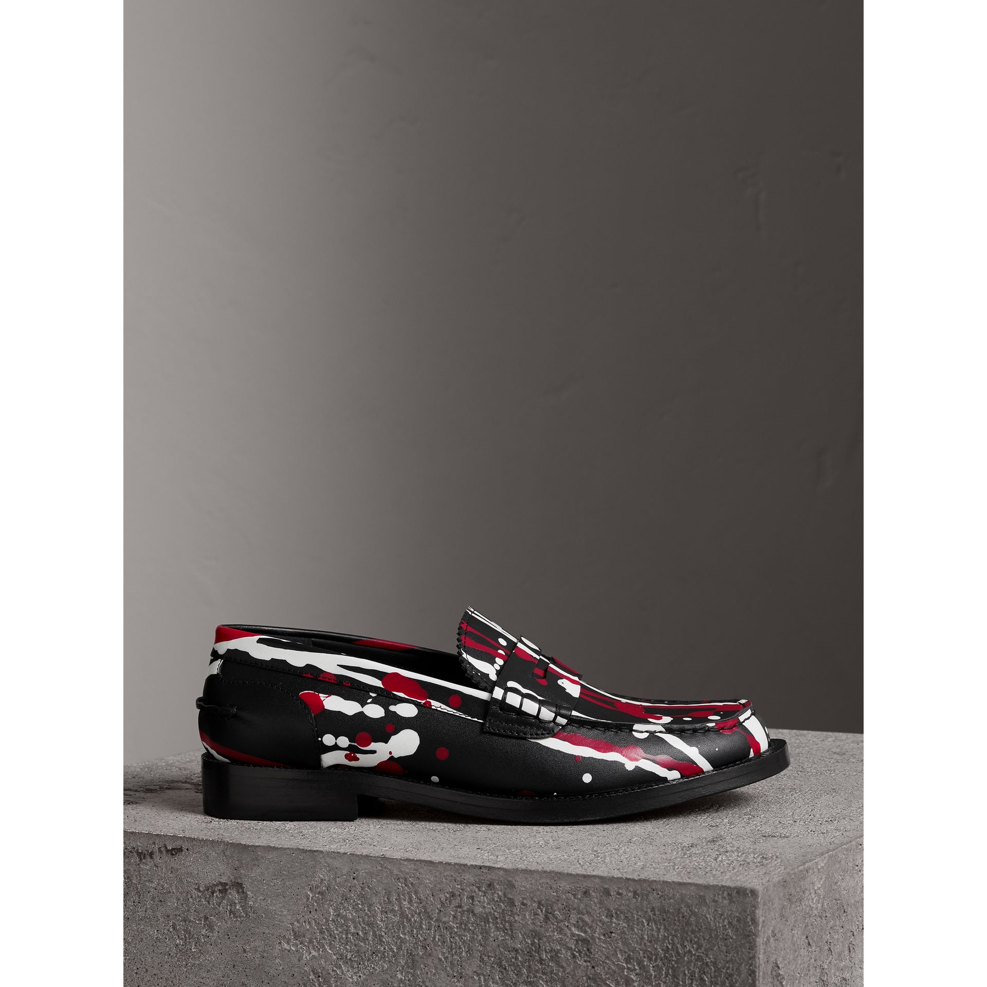 Splash Print Leather Penny Loafers in Fuchsia - Women | Burberry - gallery image 4