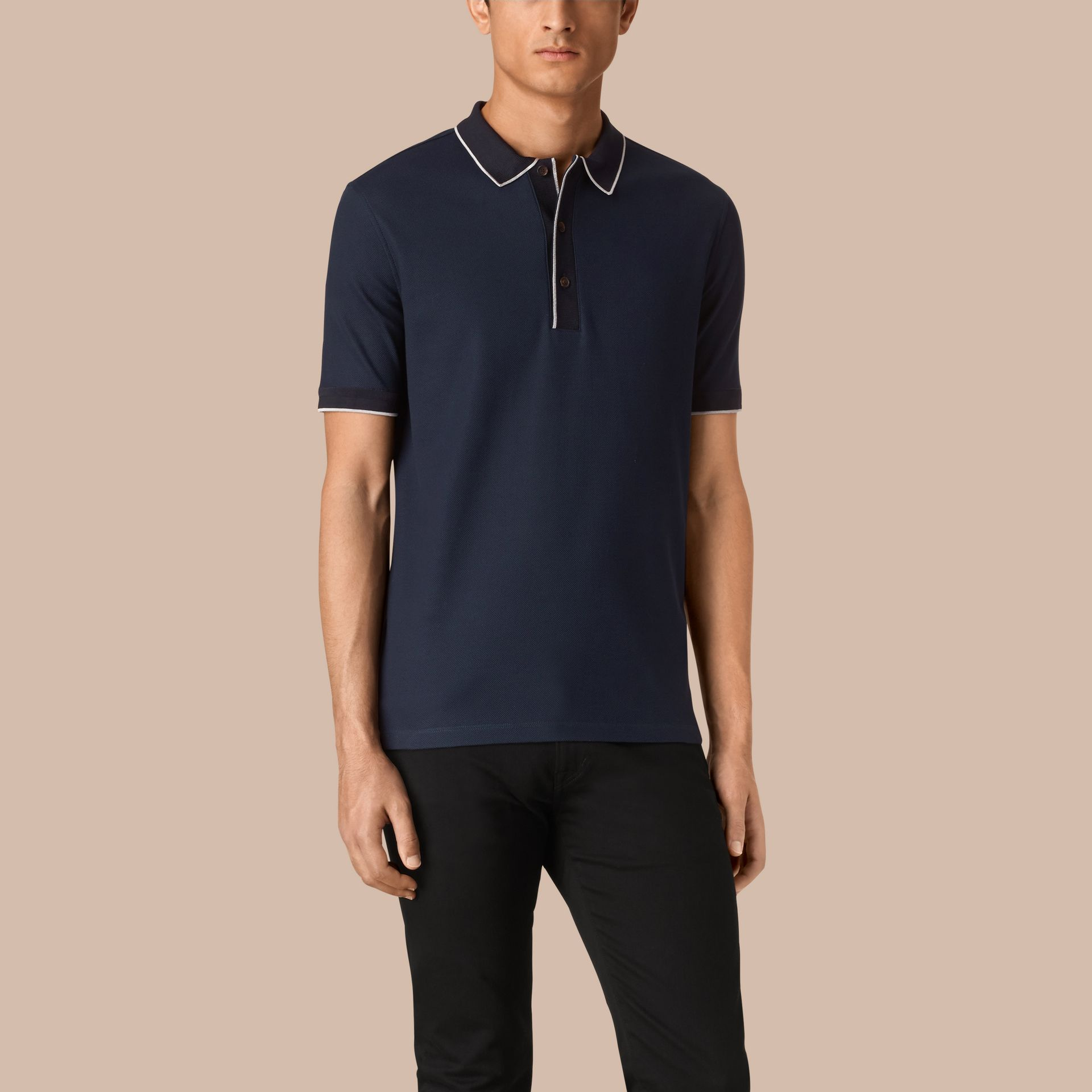 Navy/grey Contrast Tipping Cotton Piqué Polo Shirt Navy/grey - gallery image 1