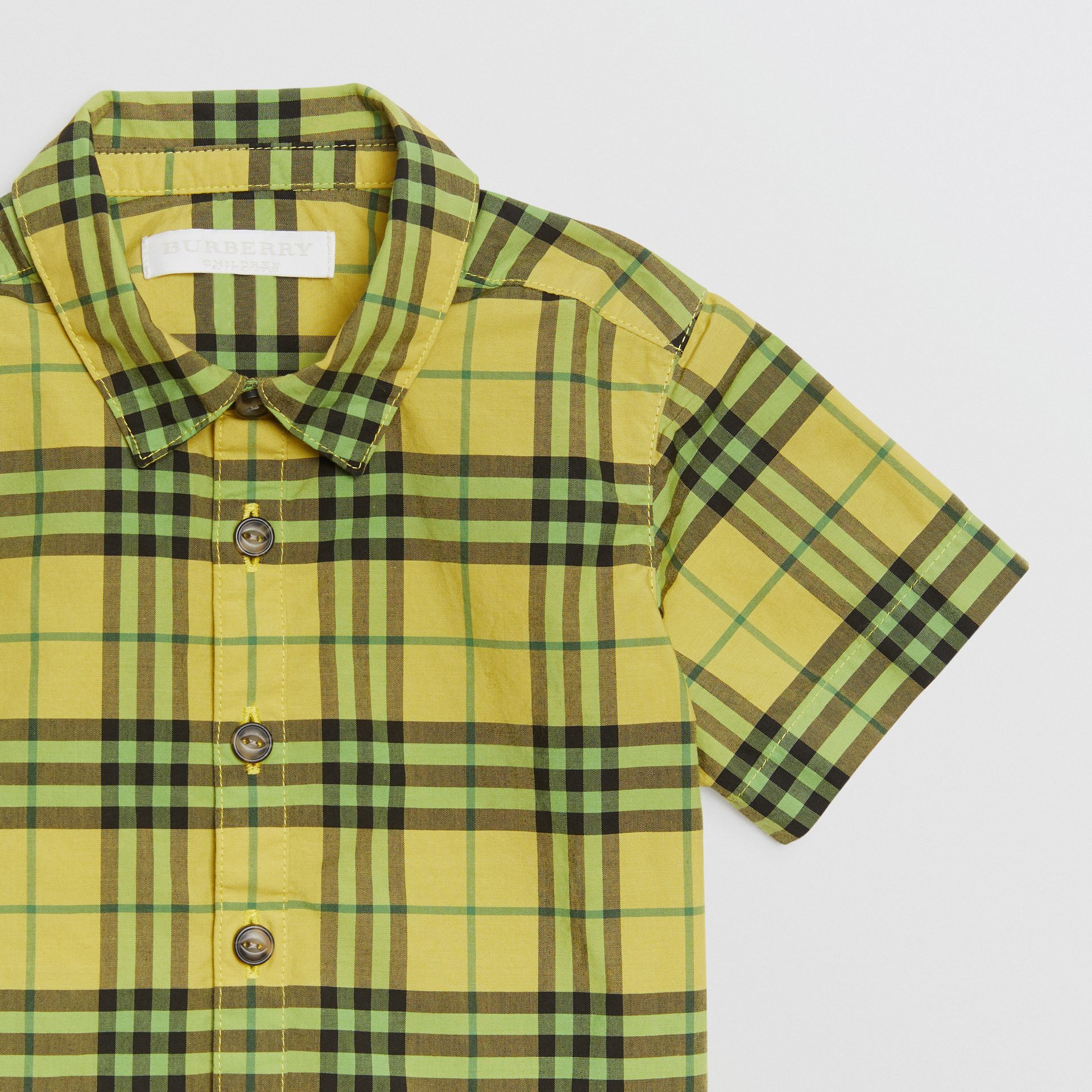 Short-sleeve Check Cotton Shirt in Citron - Children | Burberry Australia - gallery image 4