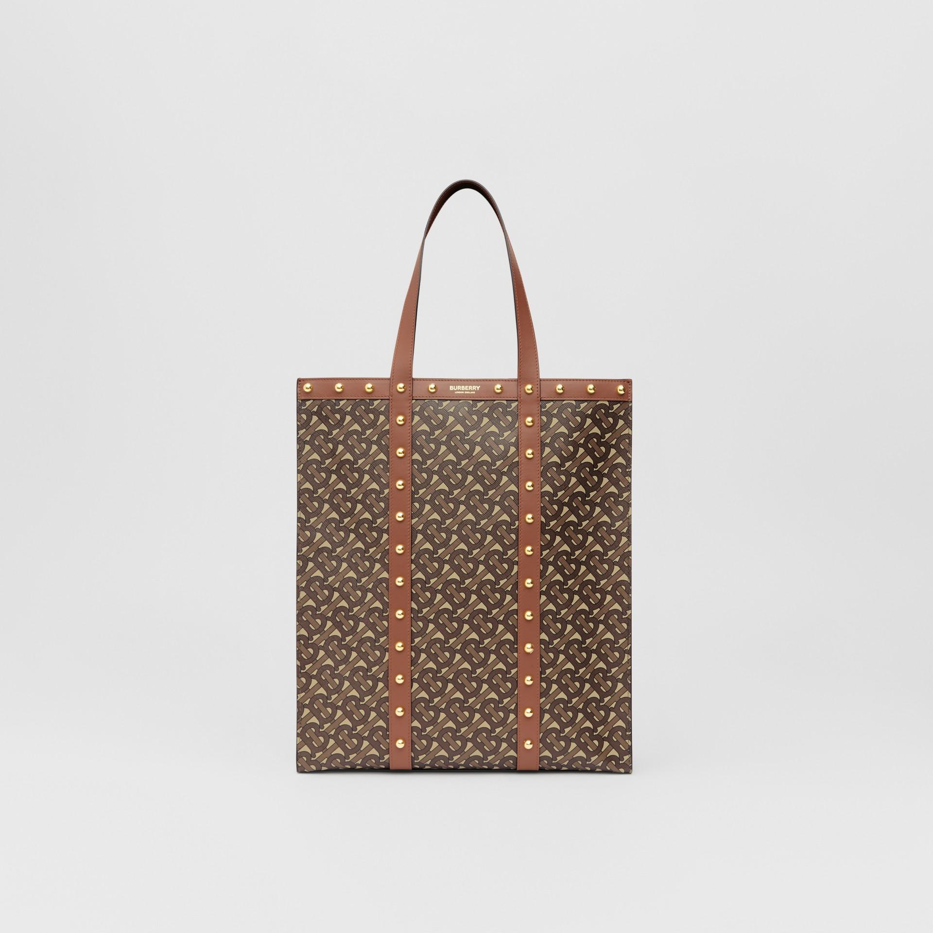Monogram Print E-canvas Portrait Tote Bag in Tan | Burberry Canada - gallery image 0