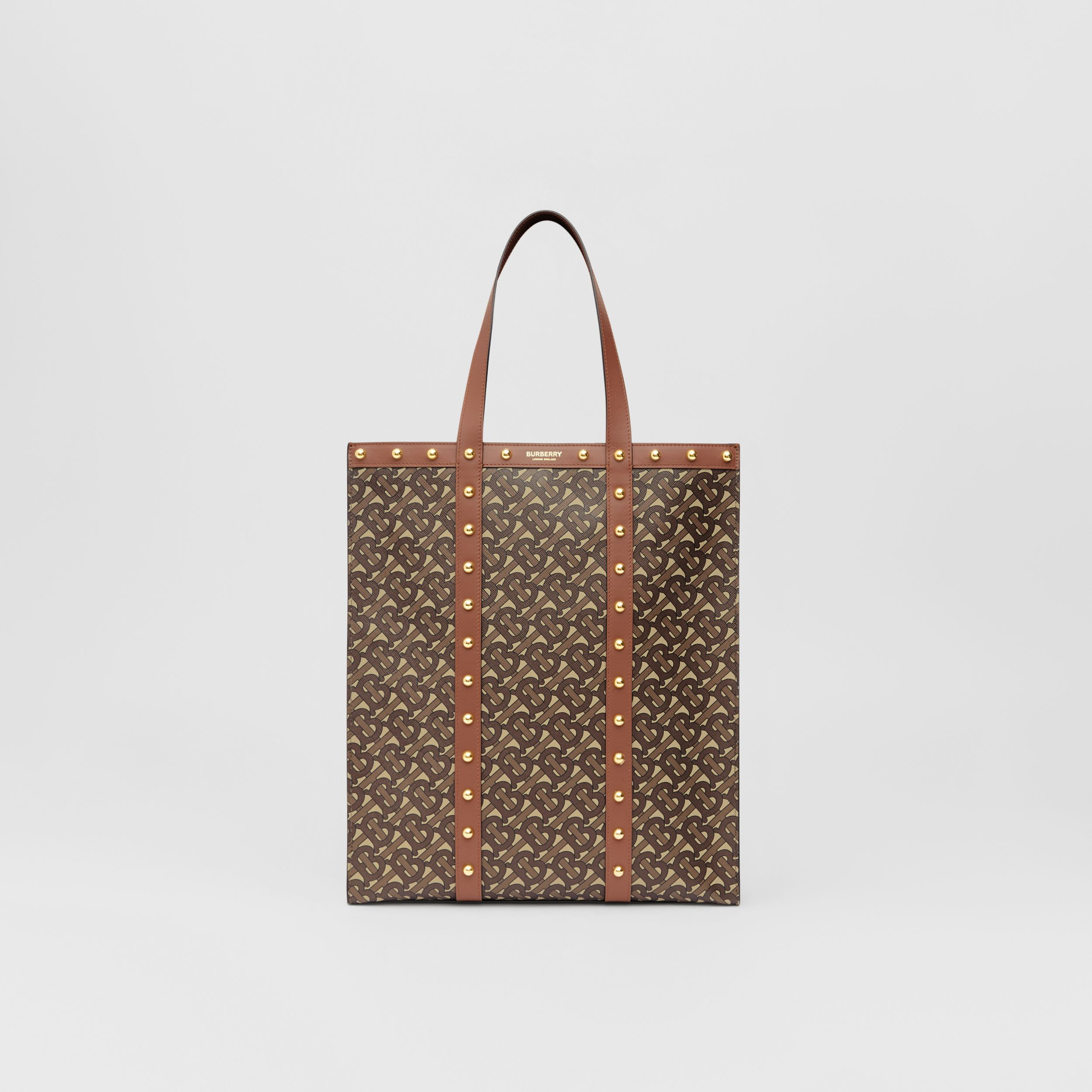 Monogram Print E-canvas Portrait Tote Bag in Tan | Burberry Australia - 1