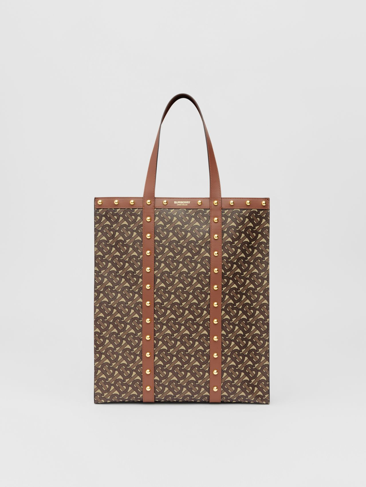 Monogram Print E-canvas Portrait Tote Bag in Tan