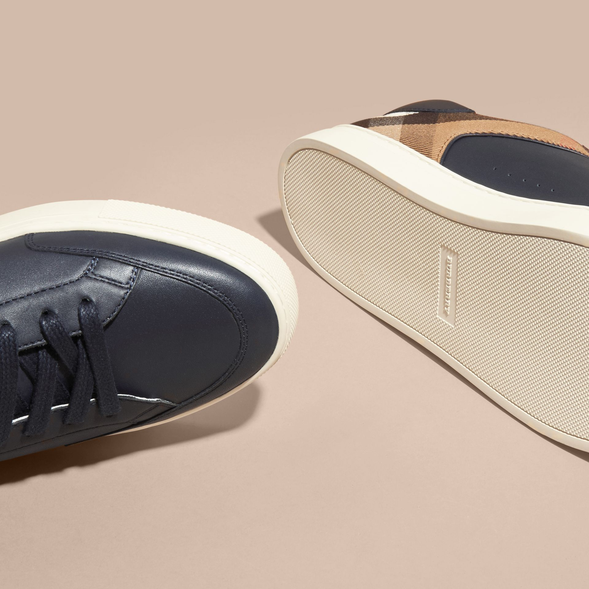 Leather and House Check Trainers in Check/true Navy - gallery image 5