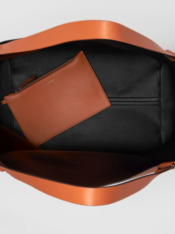Large Embossed Crest Bonded Leather Tote in Bright Tan - Men | Burberry United Kingdom - cell image 3