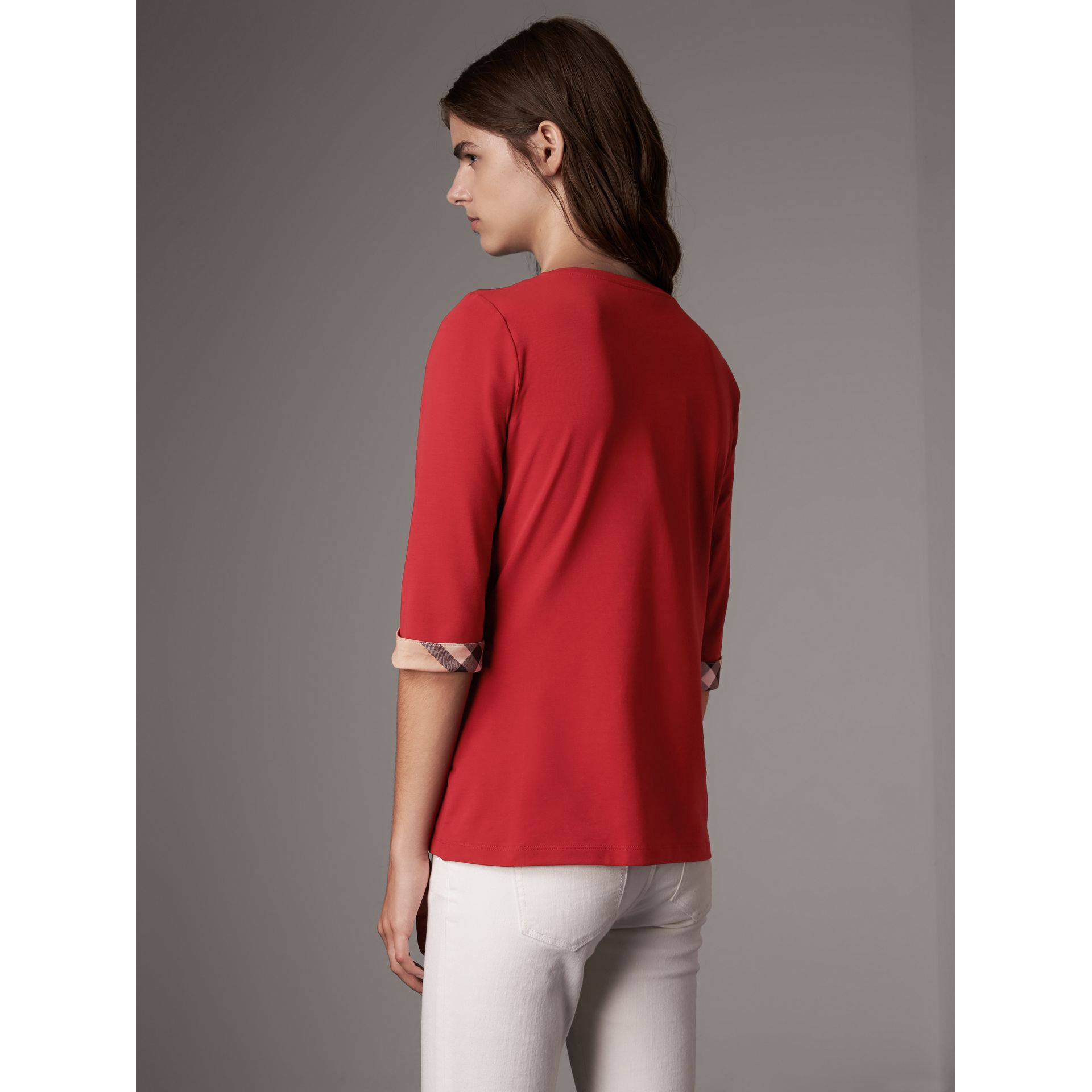 Check Cuff Stretch-Cotton Top in Lacquer Red - Women | Burberry Canada - gallery image 3