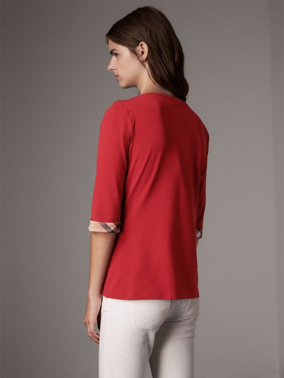 Check Cuff Stretch-Cotton Top in Lacquer Red - Women | Burberry Canada - cell image 2