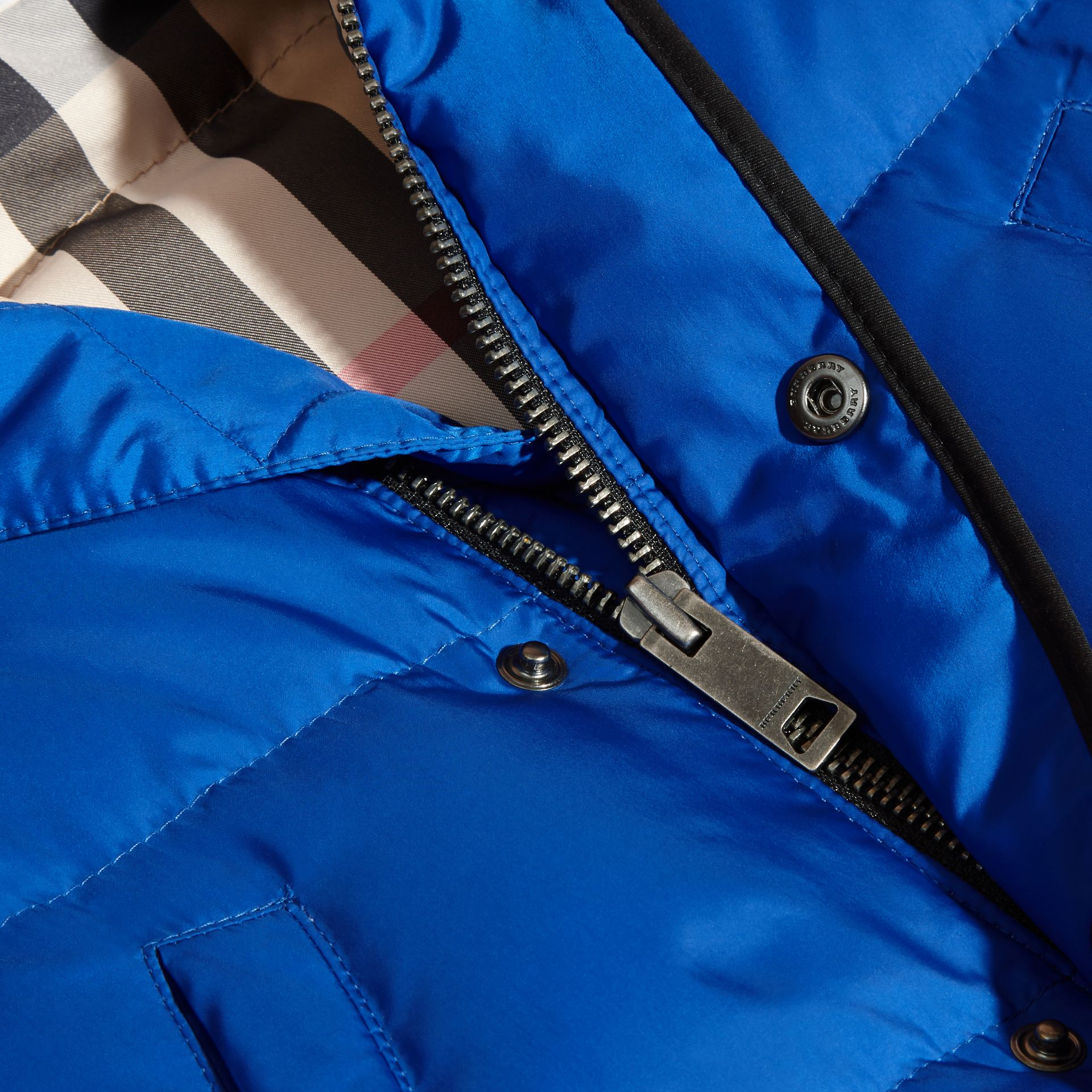 Brilliant blue Down-filled Hooded Gilet Brilliant Blue - gallery image 2