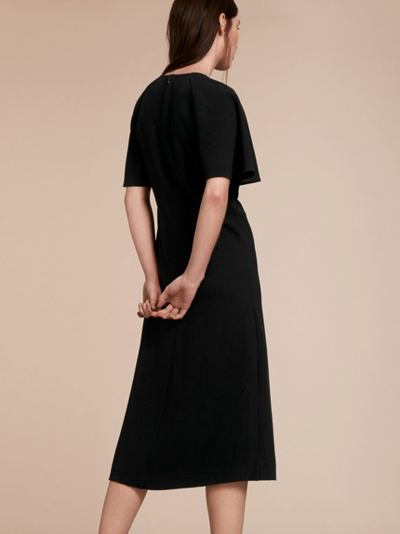 Flared-sleeve Chain Detail V-neck Technical Dress - cell image 2