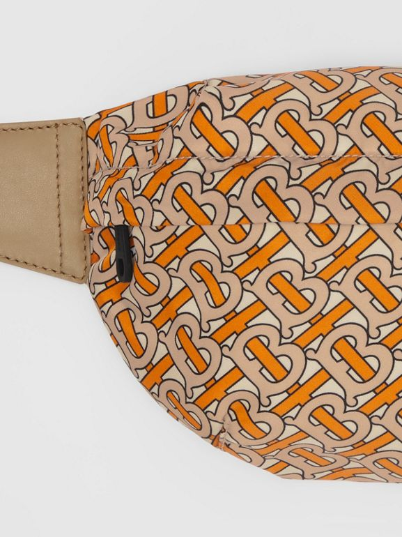 Medium Monogram Print Bum Bag in Bright Orange | Burberry - cell image 1