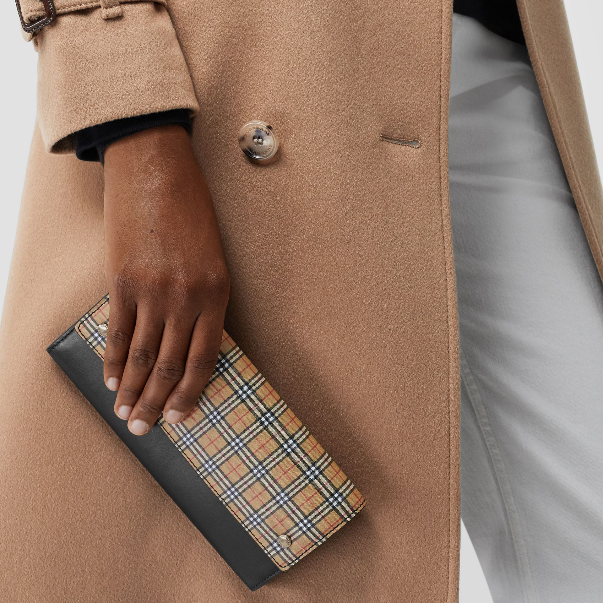 Small Scale Check Wallet with Detachable Strap in Antique Yellow - Women | Burberry United Kingdom - gallery image 3