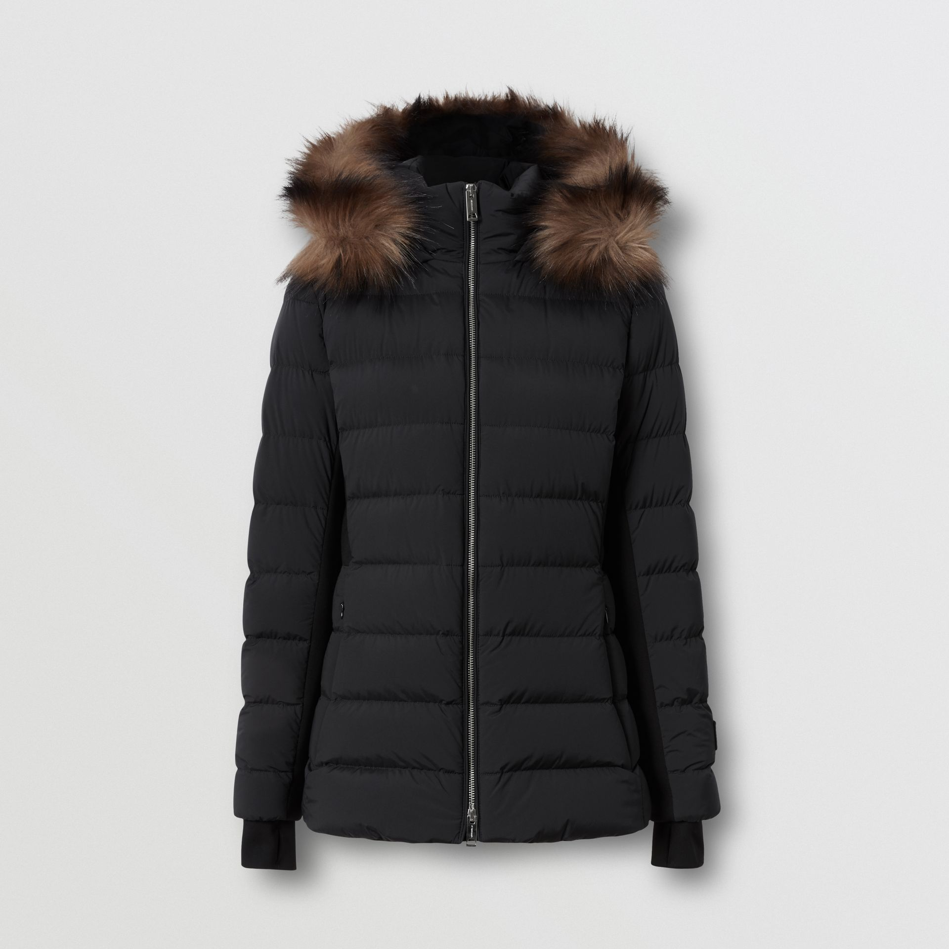 Detachable Faux Fur Trim Hooded Puffer Jacket in Black - Women | Burberry - gallery image 3