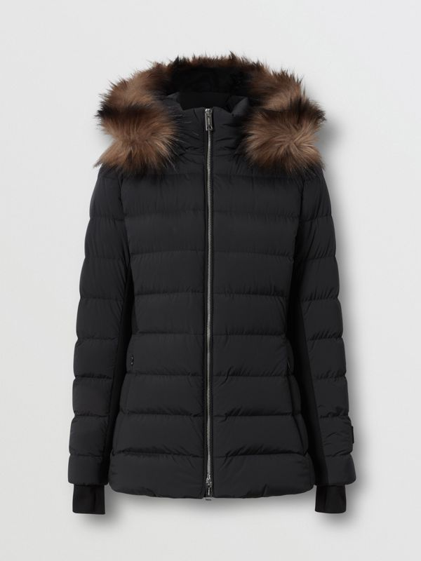 Detachable Faux Fur Trim Hooded Puffer Jacket in Black - Women | Burberry - cell image 3