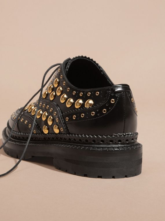 Black Studded Leather Wingtip Brogues - cell image 3