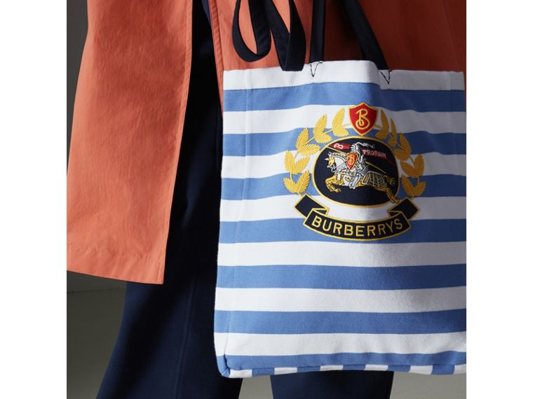 Archive Logo Striped Jersey Tote in Sky Blue/white | Burberry - cell image 4