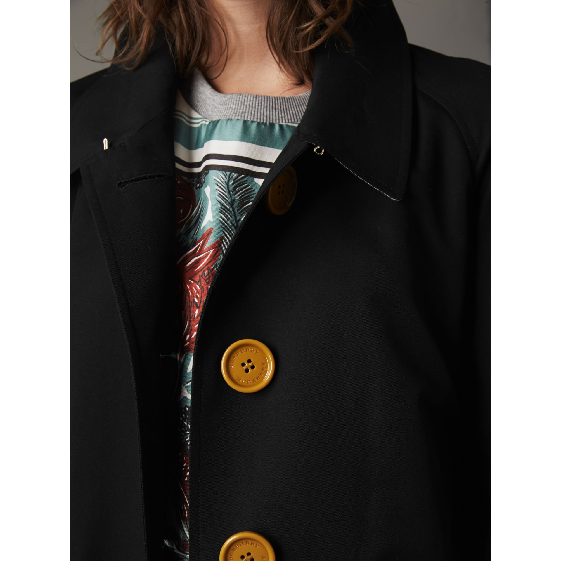 Resin Button Cotton Gabardine Trench Coat in Black - Women | Burberry - gallery image 2