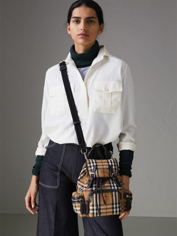 The Small Crossbody Rucksack in Vintage Check in Antique Yellow - Women | Burberry Australia - cell image 3