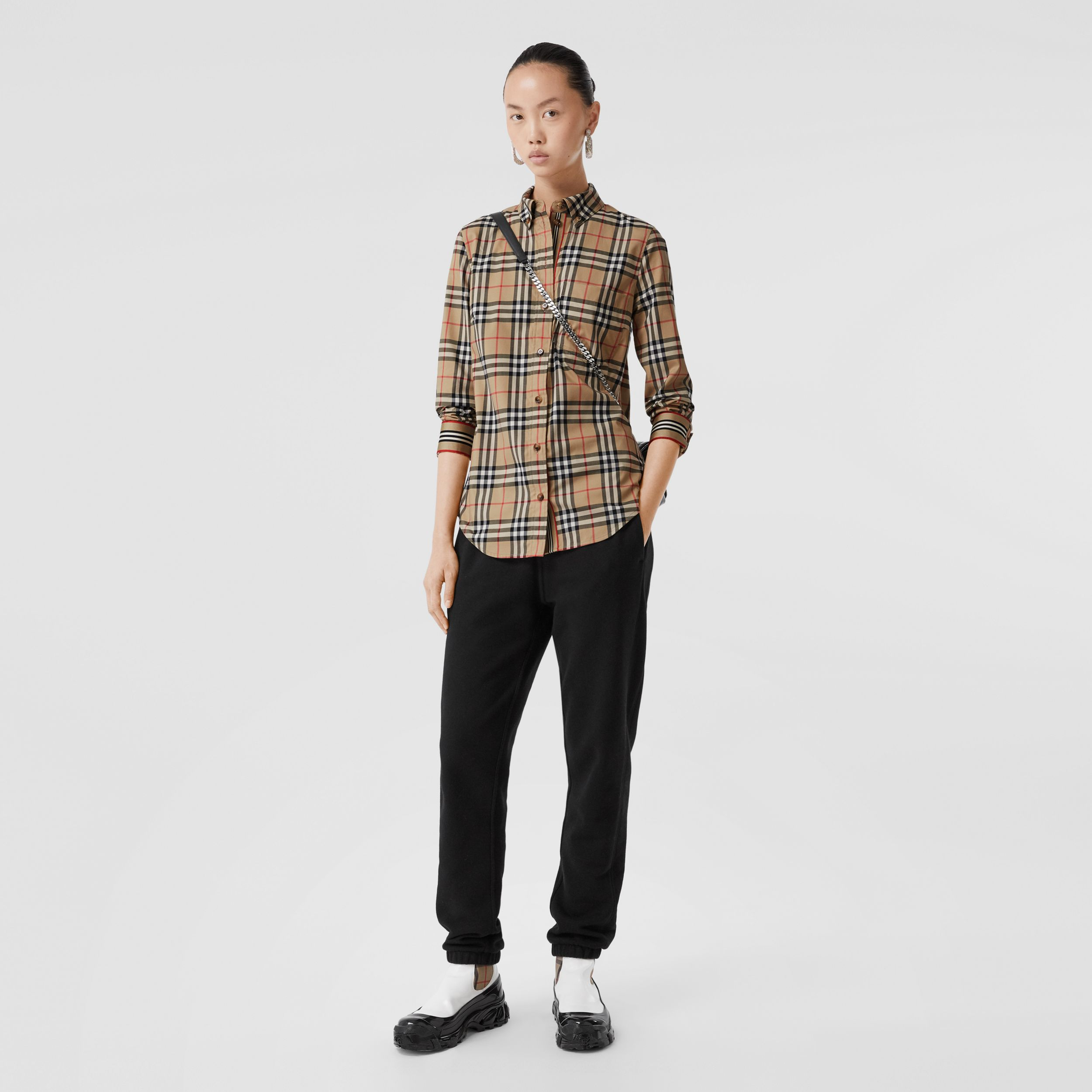 Button-down Collar Vintage Check Stretch Cotton Shirt in Archive Beige - Women | Burberry Canada - 1