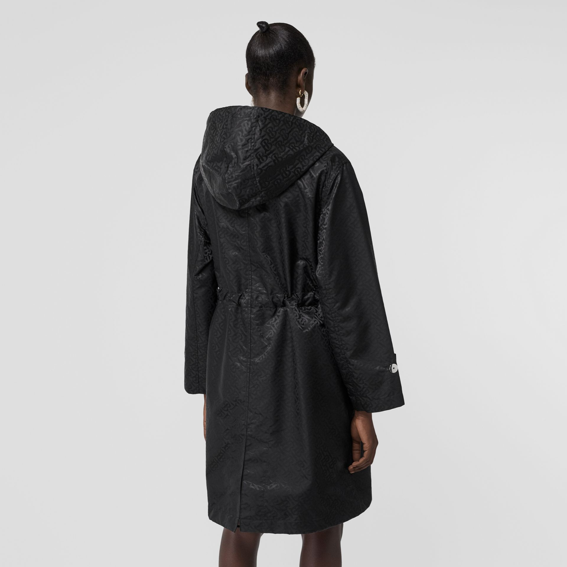 Monogram ECONYL® Jacquard Hooded Parka in Black - Women | Burberry Canada - gallery image 2
