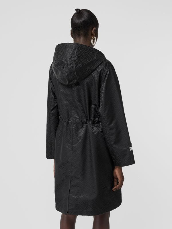 Monogram ECONYL® Jacquard Hooded Parka in Black - Women | Burberry - cell image 2