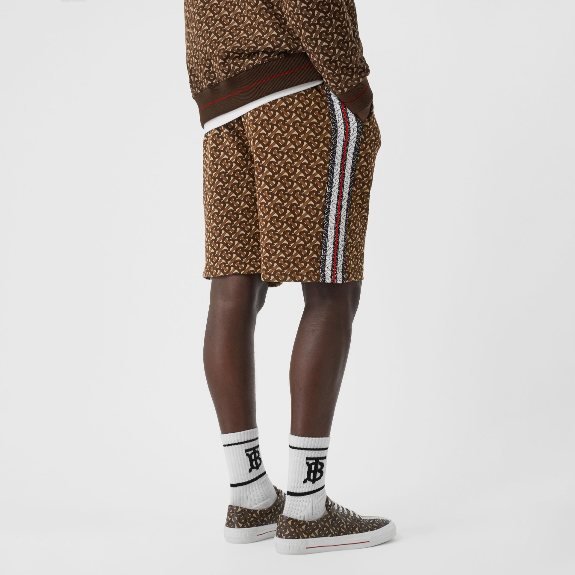 Monogram Stripe Print Cotton Drawcord Shorts in Bridle Brown - Men | Burberry - gallery image 2