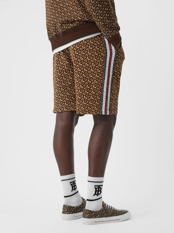 Monogram Stripe Print Cotton Drawcord Shorts in Bridle Brown - Men | Burberry - cell image 2